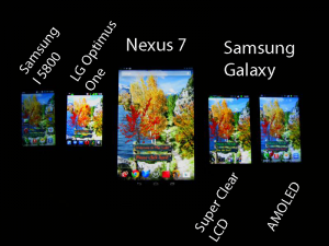 Samung Galaxy with and without Amoled compared with other devices like Google Nexus 7